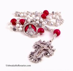Sacred Heart of Jesus rosary beads in red jade and white magnesite. www.UnbreakableRosaries.com