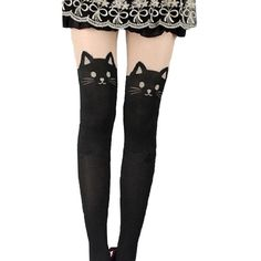 Kitten Print Knee High Length Socks CAT Tail Tattoo Tights Pantyhose... ($7.99) ❤ liked on Polyvore featuring intimates, hosiery, tights, cat pantyhose, print tights, patterned pantyhose, knee high tights and tattoo tights