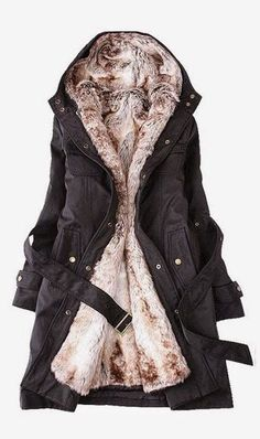 Winter jacket with a detachable faux fur lining #jacket