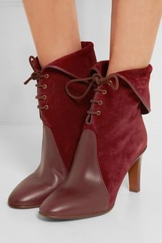 Heel measures approximately 90mm/ 3.5 inches Claret suede and leather Lace-up front Designer color: Sienna Red Made in Italy