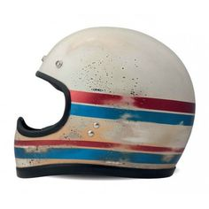 "DMD Vintage Helmet ""Racer Carbon Line"" - superior retro cross helmet made from carbon with handmace paint - ECE standard. Cb350 Cafe Racer, Vintage Helmet, Vintage Racing, Custom Helmets, Custom Bikes, Biltwell Helmet, Helmets For Sale, Honda, Helmet Paint"