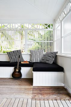 "The deck of this Byron Bay beach house sports a built-in day bed; ideal for an afternoon snooze or practicing the guitar. [Take the home tour.](http://www.homestolove.com.au/gallery-kimberly-and-stephens-byron-bay-beach-house-1660|target=""_blank"") Photo: Alicia Taylor.: [object Object]"