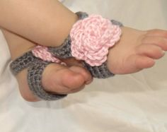 Barefoot Sandals - Crochet Baby Girl Foot Accessory - Gray with Pink oversized 3D flower - newborn baby toddler sizes