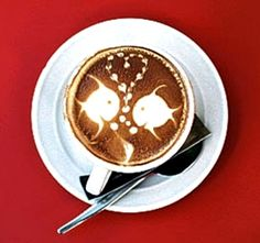 .·:*¨¨*:Coffee♥Art:*¨¨*:·. #Fish #love #latte #coffee