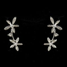 Antique Silver Clear CZ Crystal Floral Necklace 2621 & Earrings 5265 Bridal Jewelry Set