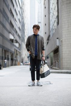 SHENTONISTA: Without A Care. Jerry, Advertising. Bag from Jack Spade, Shoes from Adidas, Pants from RAGEBLUE, Jacket from Bershka, Shirt from Pull & Bear. #shentonista #theuniform #singapore #fashion #streetystyle #style #ootd #sgootd #ootdsg #wiwt #popular #people #male #female #womenswear #menswear #sgstyle #cbd #JackSpade #Adidas #RAGEBLUE #Bershka #PullBear