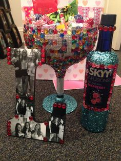 DIY glitter and rhinestone 21st birthday gift