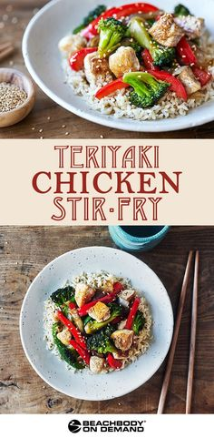Teriyaki chicken stir-fry recipe // easy dinner recipes // healthy dinner recipes // 21 day fix dinner recipe // 21 day fix // chicken recipes // beachbody Healthy Stir Fry, Easy Dinner Recipes, Healthy Dinner Recipes, Drink Recipes, Healthy Meals, Healthy Eating, Healthy Food, Cooking Recipes, Healthy Teriyaki Chicken