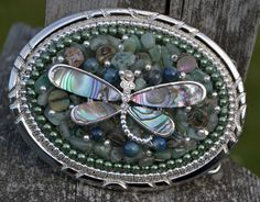 Magical Abalone silver dragonfly ladies belt by CreativityAtPlay, $60.00