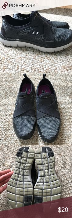 Sketchers Air Cooled Memory Foam slip-on sneakers SO COMFORTABLE in a cute charcoal grey mesh with black elastic. Flexible sole in light grey. Barely used! Skechers Shoes Athletic Shoes