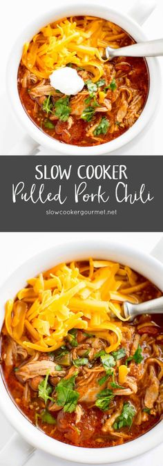 Healthy pulled pork chili for a cold winter evening recipes for slow cooker Slow Cooker Chili, Crock Pot Slow Cooker, Crock Pot Cooking, Slow Cooker Recipes, Cooking Recipes, Healthy Recipes, Crockpot Meals, Low Carb Slow Cooker, Pork Meals