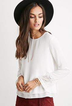 Layered Lace-Cuff Boxy Top   Forever 21 - 2000141151
