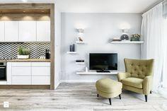 MIESZKANIE POKAZOWE NA OŁTASZYNIE - Średni salon z kuchnią, styl skandynawski - zdjęcie od Partner Design