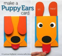 FREE PRINTABLE TEMPLATE~  This Puppy Ears Card is a great craft to make for any occasion.  Invite parents to an open house, send a cheery get well greeting to a sick classmate, or make one to send overseas on Veteran's Day!