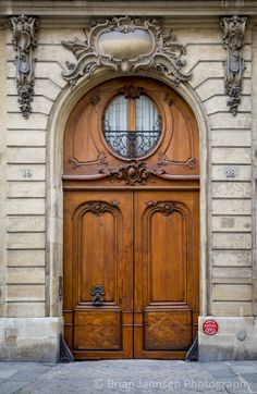 Wooden doors in Saint-Germain-des-Pres, Paris France. © Brian Jannsen Photography
