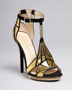 Boutique 9 Platform Evening Sandals - Orseena Art Deco