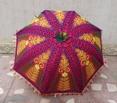 Lovely Pink Handmade indian umbrella cotton fabric by LavyaArt
