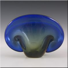 Murano Biomorphic Blue & Amber Glass Clam Bowl/Vase - £30.00