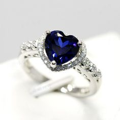 New Fashion Sapphire Heart Cubic Zirconia 925 Sterling Silver 18K White Gold Plated Women's Ring   $99.00