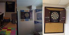 DIY: Dartboard Backboard Designs:  We've used fabric-covered ceiling tiles, license plates, and cork flooring planks.