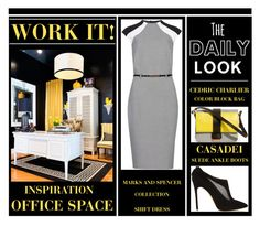 """""""Work It - Office Style (Black, White and Yellow)"""" by latoyacl ❤ liked on Polyvore featuring M&S Collection, Casadei, Cédric Charlier, women's clothing, women's fashion, women, female, woman, misses and juniors"""