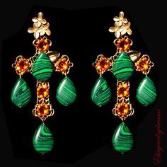 Swarovski Emerald earrings, Estate style drop, Emerald earring, double earring, Jade, Swarovski earrings, Orange earrings