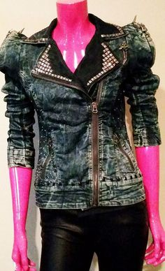 Punk Denim Stonewash Jacket by JeepersCreepersStore on Etsy