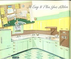 1958 Sears kitchen cabinets and more - 32 page catalog A vintage kitchen with two colors of steel cabinets. Green lower steel cabinets with yellow upper steel cabinets. With a cute green and white checked tile flooring. 1950s Kitchen, Updated Kitchen, Retro Kitchens, Kitchen Modern, Yellow Kitchens, Dream Kitchens, Plywood Furniture, Furniture Design, Chair Design