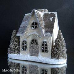 German Putz Houses | Silver Leaf Cream White Putz House Silver German Glass by MagiaMia