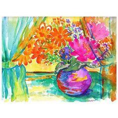 Trademark Fine Art Window Bouquet Canvas Art by Wendra, Size: 35 x 47, Multicolor