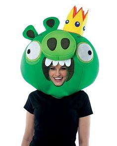 Adult Angry Birds King Pig Green Headpiece Funny Couple Halloween Costumes, Cheap Halloween, Halloween Costume Accessories, Creative Halloween Costumes, Funny Costumes, Homemade Halloween, Halloween Masks, Halloween Ideas, Halloween Decorations