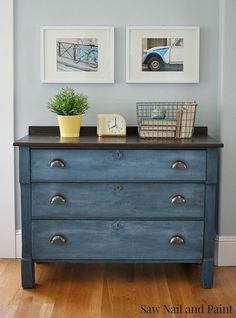 "Hometalk :: Upcycled Blue Chest Of Drawers. Used milk paint in ""Soldier Blue, refinished the top and sealed the entire piece with General Finishes high performance top coat."