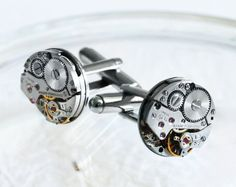 GIRARD PERREGAUX Men Steampunk Cufflinks - with GENUINE Girard Perregaux Watch Movement. Available at TimeInFantasy, $120.00