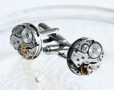 GIRARD PERREGAUX Men Steampunk Cufflinks - with GENUINE Girard Perregaux Watch Movement. Available at TimeInFantasy, $120.00 cufflink