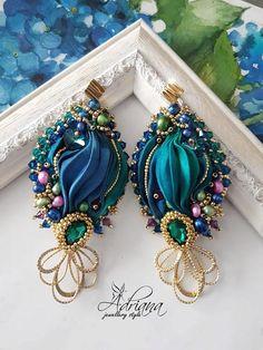 Emerald Blue Silk Shibori Earrings With Freshwater Pearls And Swarovski Crystals, Wedding Earrings, Crystals Earrings Fabric Earrings, Fabric Jewelry, Beaded Jewelry, Shibori, Crystal Earrings, Gold Earrings, Emerald Blue, Beaded Brooch, Blue Zircon