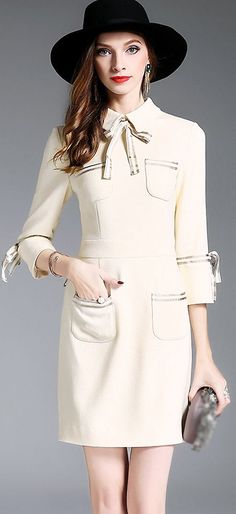 Elegant Tied Lapel Bodycon Dress