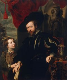 Self-portrait of Peter Paul Rubens with his son Albert.  Artist: School of Peter Paul Rubens.  Date: first half of 16th century.  Current Location: Hermitage Museum.