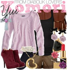 Casual cosplay Komori Yui from Rejet's Diabolik Lovers with a pink sweater and brown shorts. Swap her boots with maroon ankle booties and frilly crew socks.