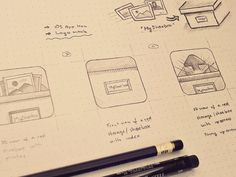 iOS App icons sketches by Jackie Tran