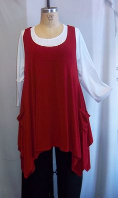 Coco and Juan Plus Size Top Lagenlook Layering Tunic Top Red Traveler  Knit Size 2 Fits 3X,4X  Bust to 60 inches