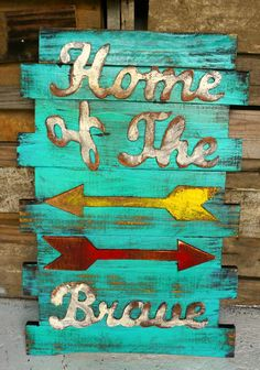 "Show your pride with our """"Home of the Brave"""" Wood wall art sign. **PLEASE NOTE: As all of our home decor is handmade & may take 4 weeks to make.  No two are the same. Therefore, disbursement of colo"