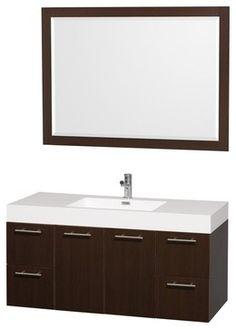"Wyndham Collection 48"" Amare Espresso Single Sink Vanity w/ Acrylic-Resin Top - transitional - Bathroom Vanities And Sink Consoles - Luxvanity"