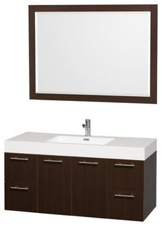 "Wyndham Collection 48"" Amare Espresso Single Sink Vanity w/ Acrylic-Resin Top - transitional - Bathroom Vanities And Sink Consoles - Luxvanity"