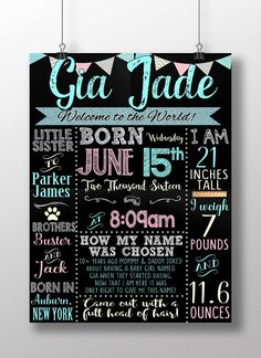 Girl birth announcement newborn girls birth by CustomPrintablesNY