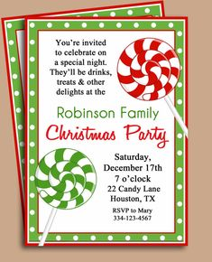 92 best christmas party invitations images on pinterest christmas christmas party invitation printable lollipop by thatpartychick stopboris Choice Image