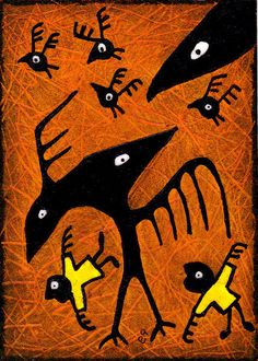 crow lessons e9Art Outsider Art Brut Surrealism Visionary Shaman Pagan. ACEO: Collectible - Giftable - Affordable - Miniature Art for Small Spaces
