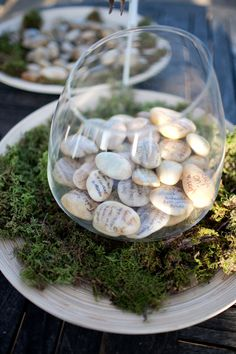 guests sign small stones instead of the tradition guest book