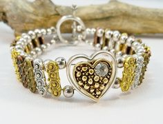 Heart BraceletCopper Silver Bronze and Antique Gold by babbleon, $25.00