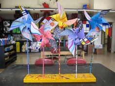 pinwheels with different artistic styles.    this site is full of fantastic ideas.