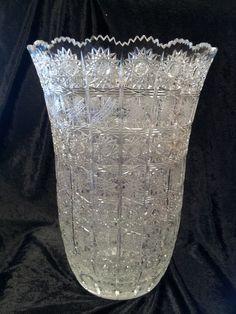 Web of Lace Bohemian Queen Ann Crystal Geometric Cut Glass Vase | eBay
